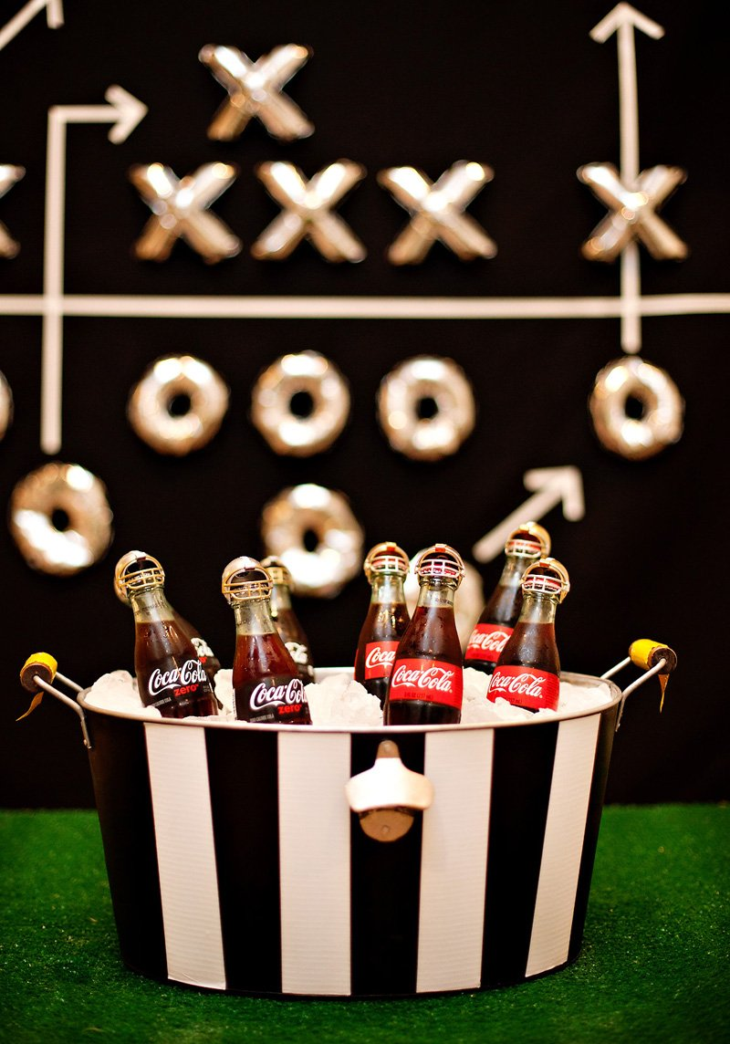 Football Party Drink Station Ideas - Coca-Cola Bottles