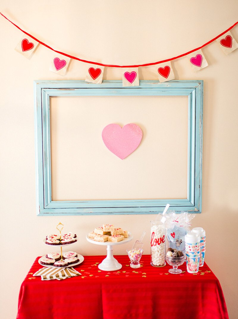Pink and Red Valentine's Day Dessert Station
