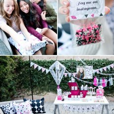 Geometric Teen Birthday Party - Pink Black Silver