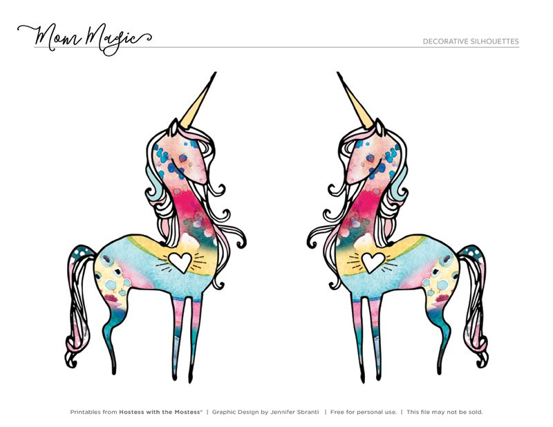 Unicorn Printables from HWTM - Watercolor