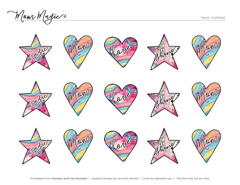 Mom Magic Printables from HWTM - Heart and Star Toppers