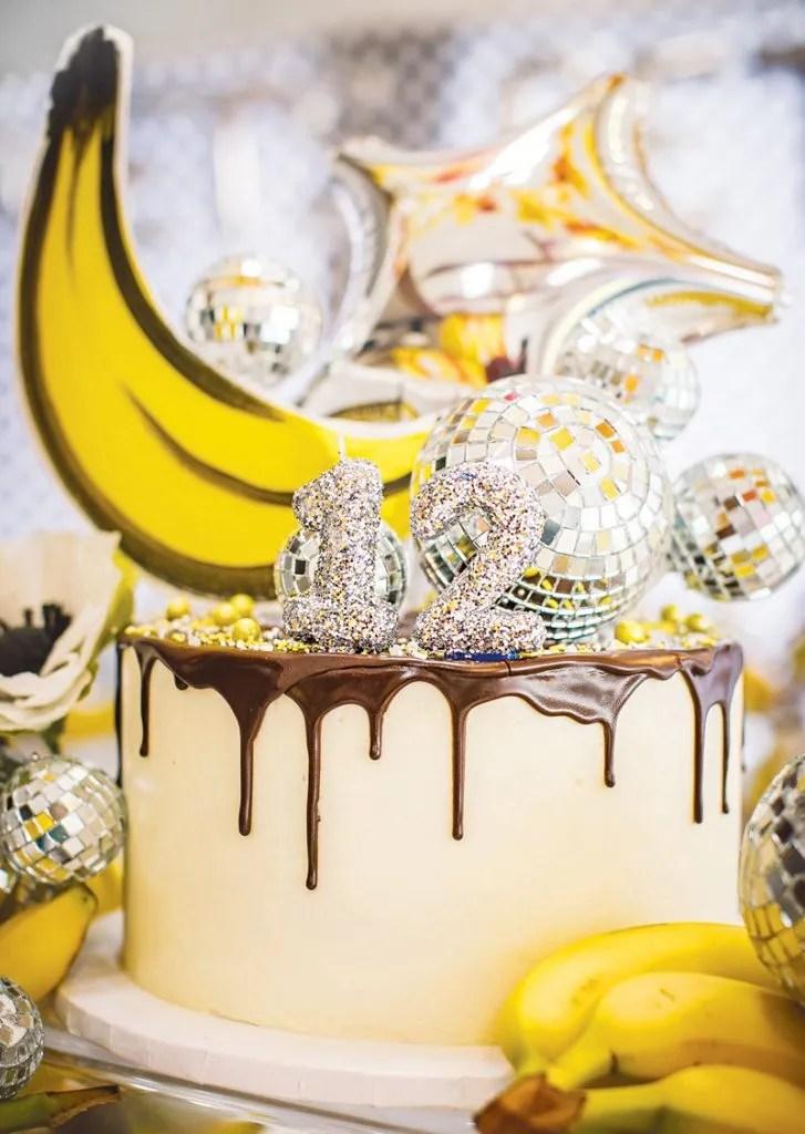 disco ball topped birthday cake