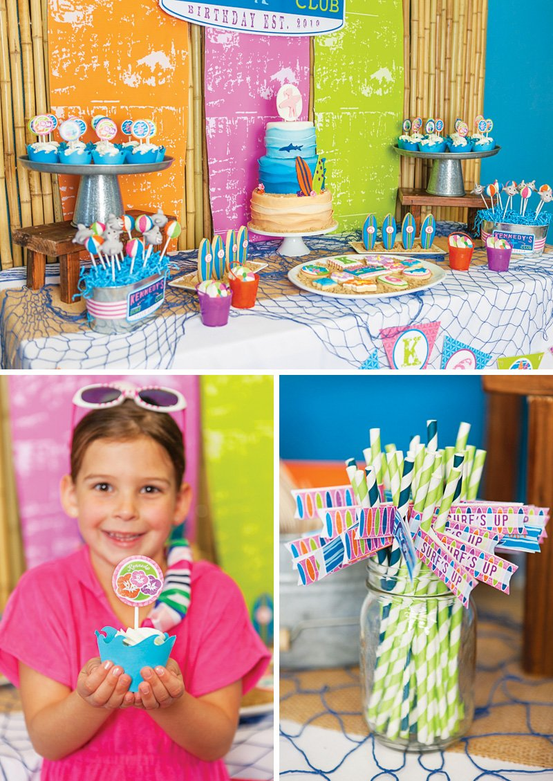 orange and pink girl's beach birthday party
