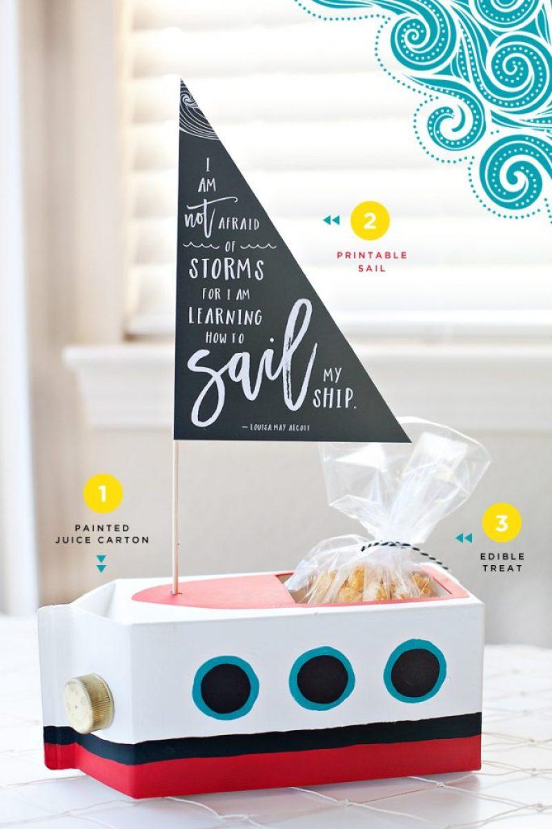 DIY Juice Carton Sailboat gift