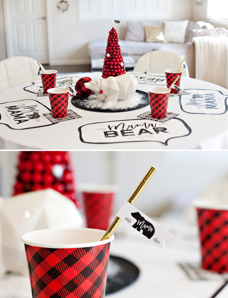 polar bear holiday table with red, black, and white