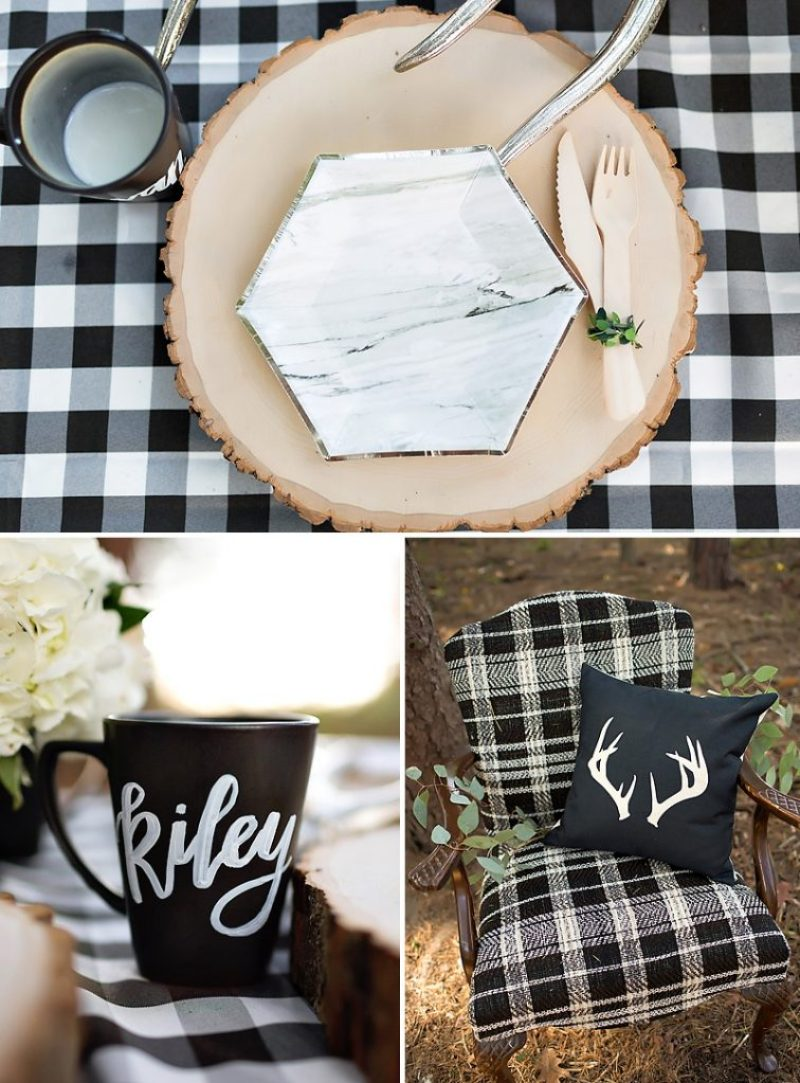 Black and White Holiday Party Table