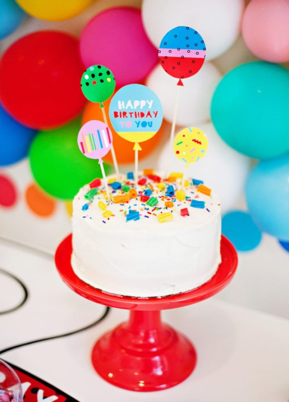 rainbow party cake + printable cake topper