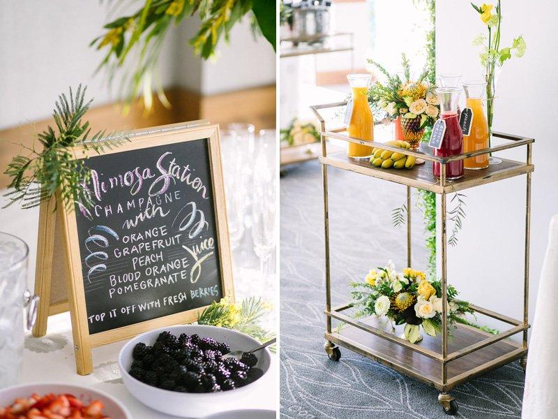 mimosa station sign and bar cart
