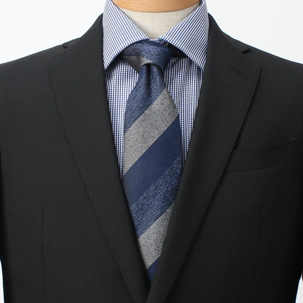 ネクタイ ブルー 青 ブラックスーツ 成人式