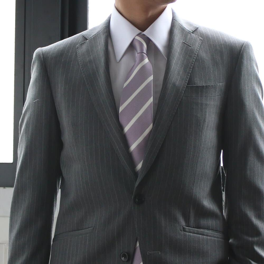 成人式 ネクタイ 紫 グレースーツ