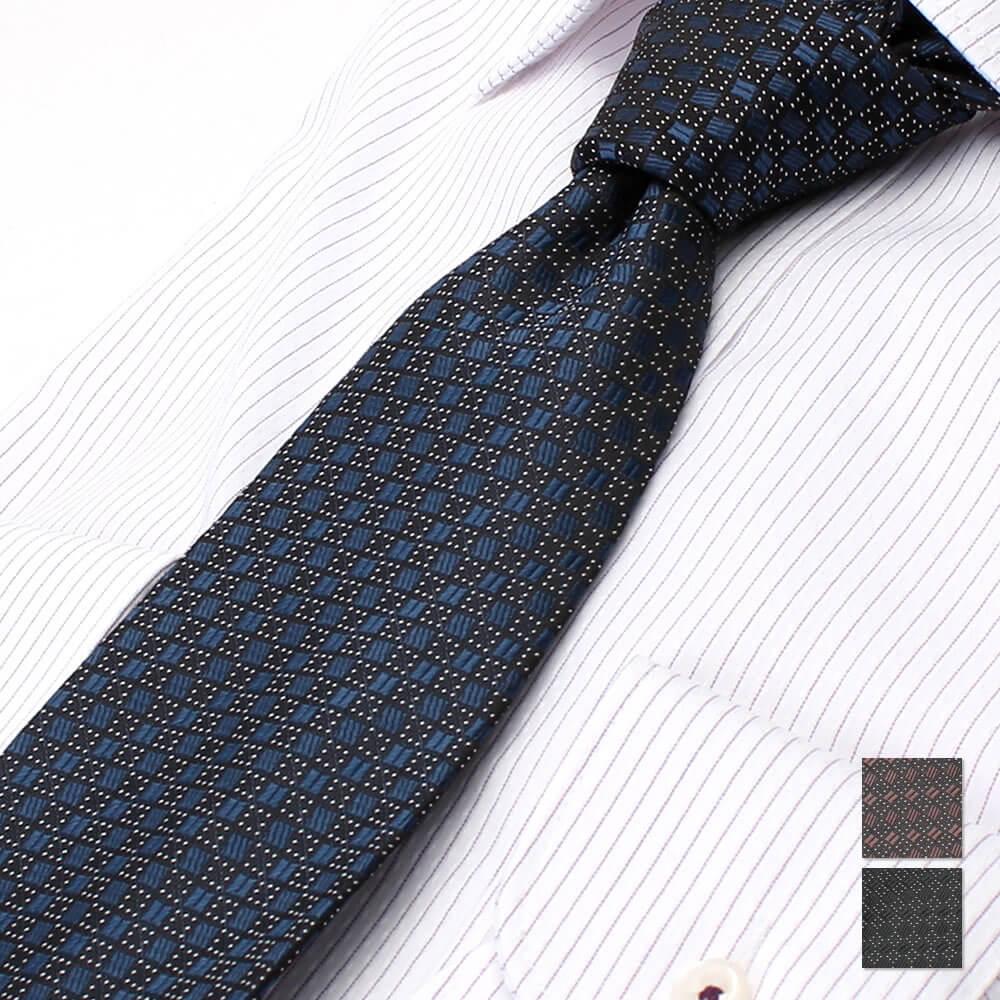 ジャガード織ネクタイ 小紋柄 ネイビー
