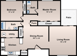 2 Bed / 2 Bath / 1350 ft² / Deposit: $500 / Rent: $825