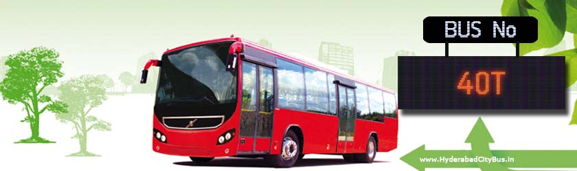 40T no Bus Route Hyderabad City Bus Timings, Route 40T Bus Stops, Frequency, 40T First & Last Bus