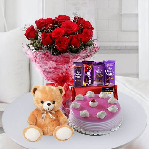 Delicious Cake With Chocolates Teddy N Flowers For Birthday To Hyderabad Free Shipping