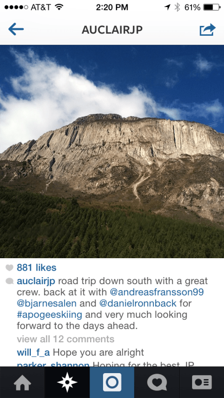 JP Auclair Final Instagram Post from Patagonia