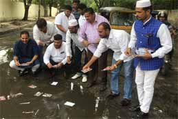 Congress Workers Hold Novel Protest Against Bad Roads