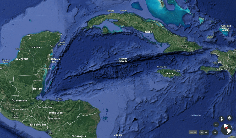 Sea floor mapping of the Caribbean