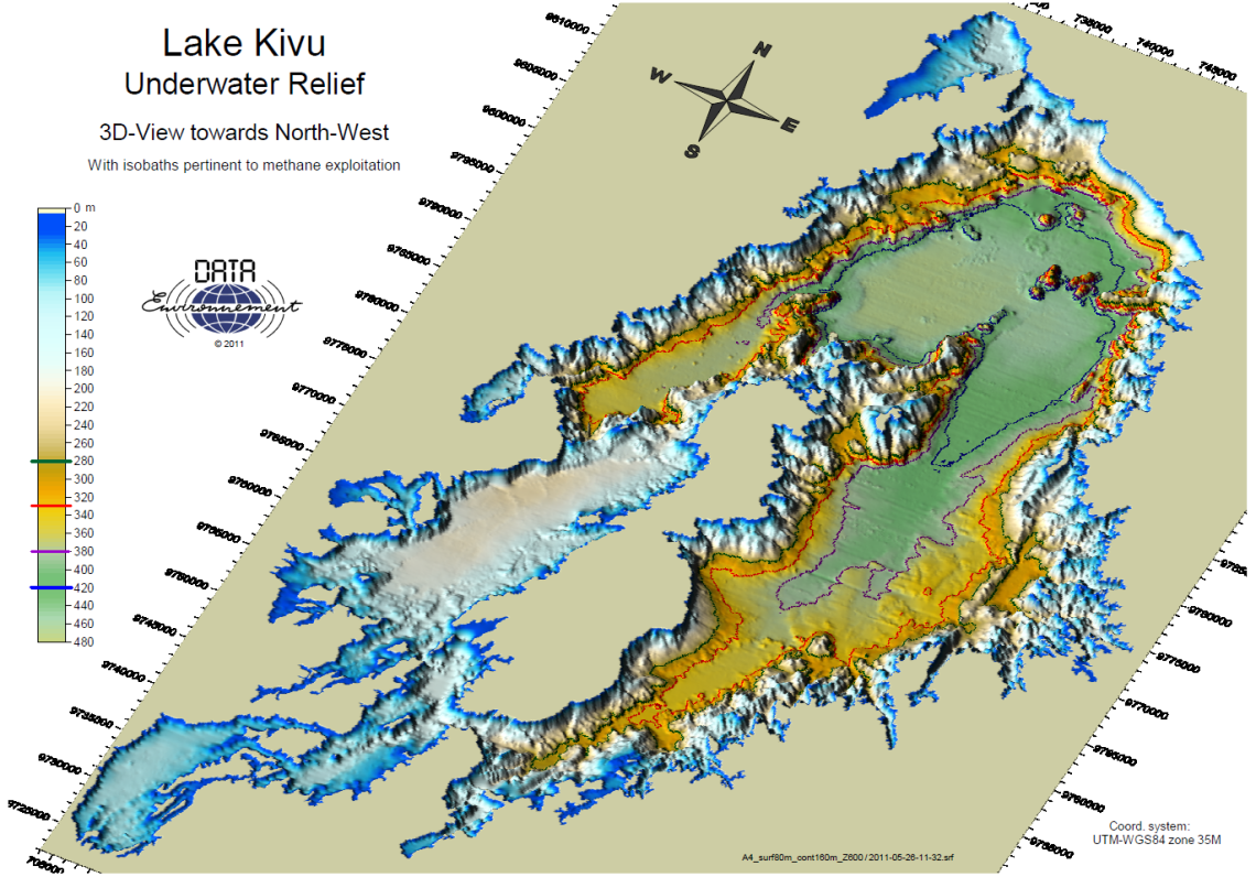 Lake Kivu Bathymetric viewed as a 3D Projection from the South West