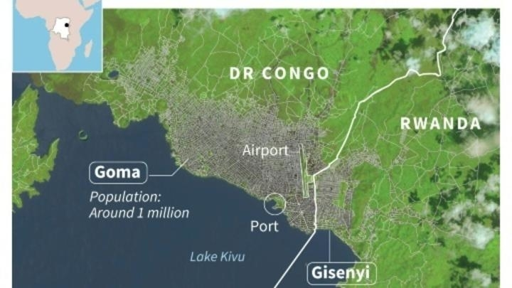 Satellite map of the city of Goma north of Lake Kivu, with its 1 million population