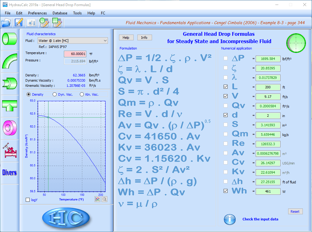 HydrauCalc - General Head Drop Formulas for Steady State and Incompressible Fluid - circular cross-section