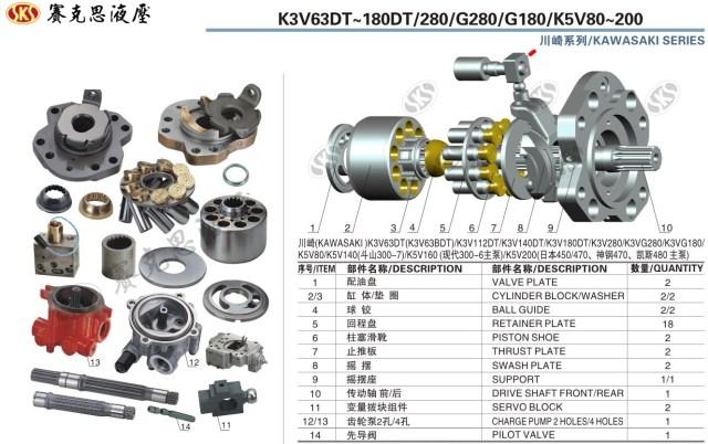 Запчасти к гидронасосам Kawasaki серии K3VDT63-280/K3VG180/K5V80-200