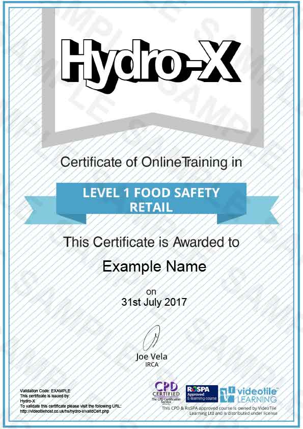 Online Level 1 Food Safety Course Retail Fully Accredited