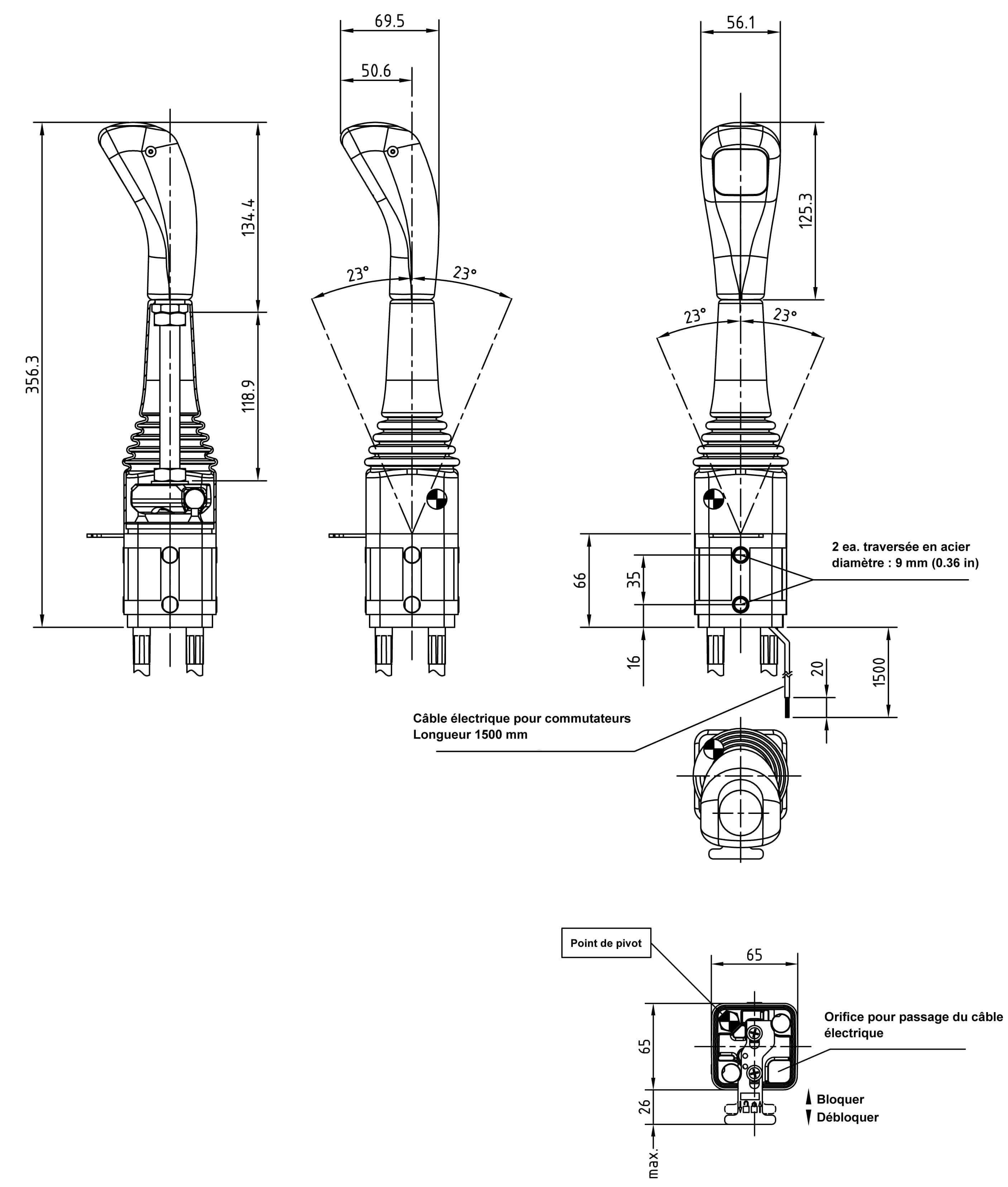 Boitiers De Commande A Distance Poignee En Croix Avec Boutons
