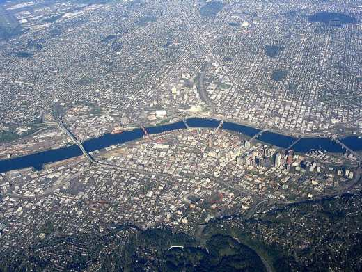 Aerial view of Portland - Clean Energy Projects