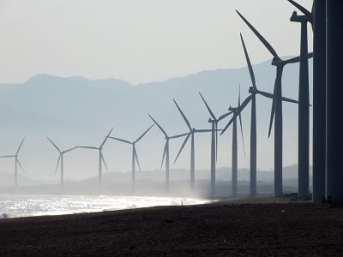 Offshore wind Energy - wind turbines on beach