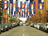 Clean Vehicles - Street in Colorado with Colorado Flags