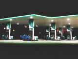 Saudi Arabia hydrogen fuel station - gas station at night