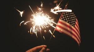 Fireworks pollution - American flag - sparkler