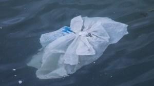 Ocean Cleanup System - plastic bag in water