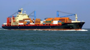 mobile hydrogen fuel cell system - cargo ship at sea