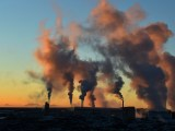 Geothermal energy sector - factory - sunset