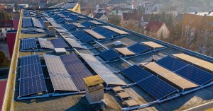 Green hydrogen plant in France - solar power on roof of building