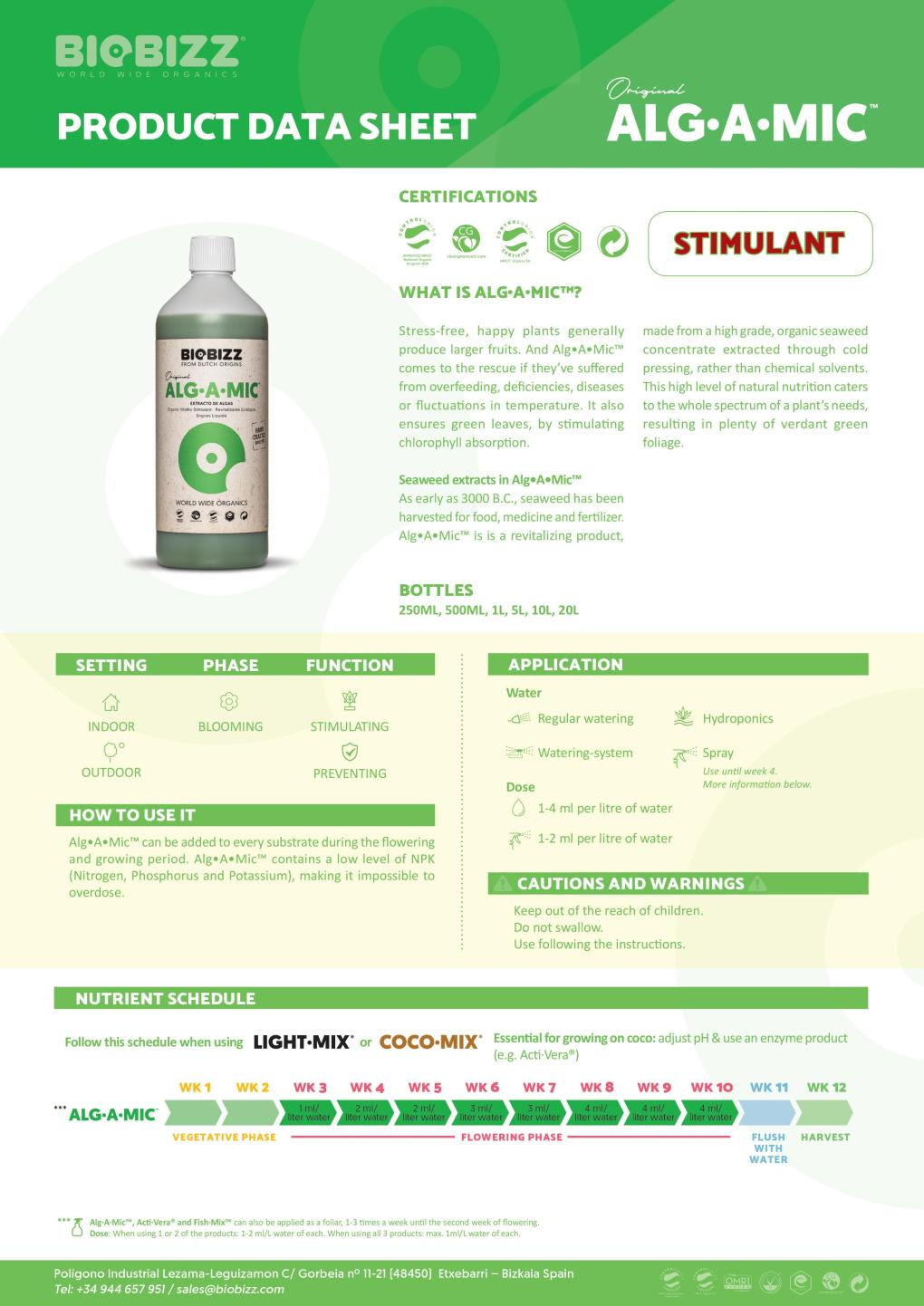 Biobizz Alg-A-Mic Product Data Sheet 2020