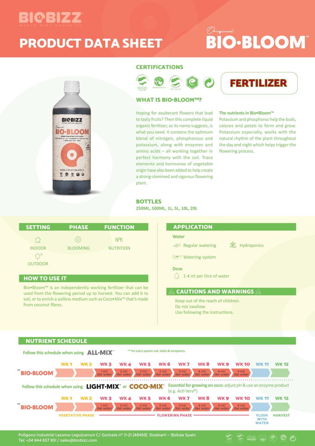 Biobizz Bio-Bloom Feeding Chart 2020