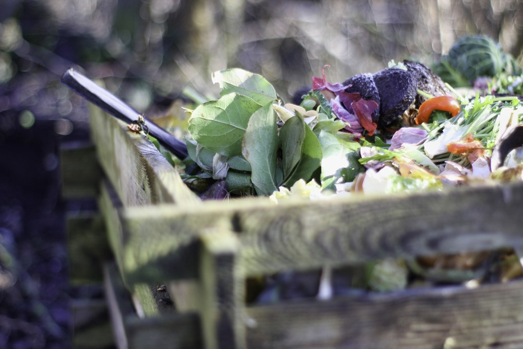 Composting green waste.