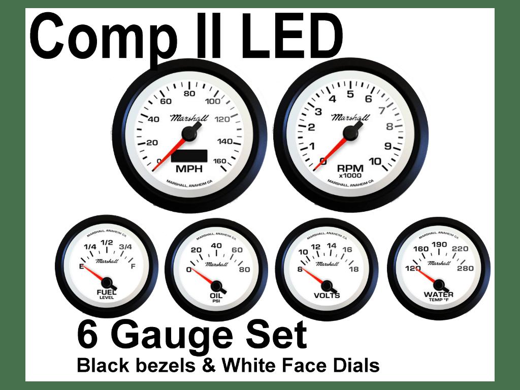 Comp Ii Led 6 Gauge Set White Face