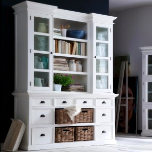 Halifax Library Hutch Unit with Basket Set by NovaSolo
