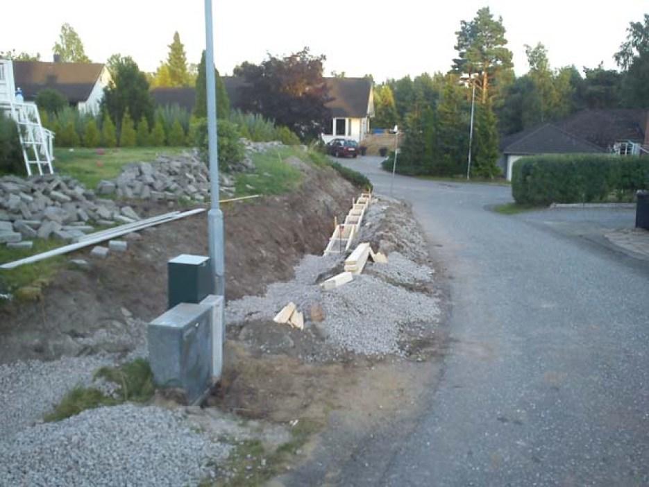 Forskaling av såle til støttemur