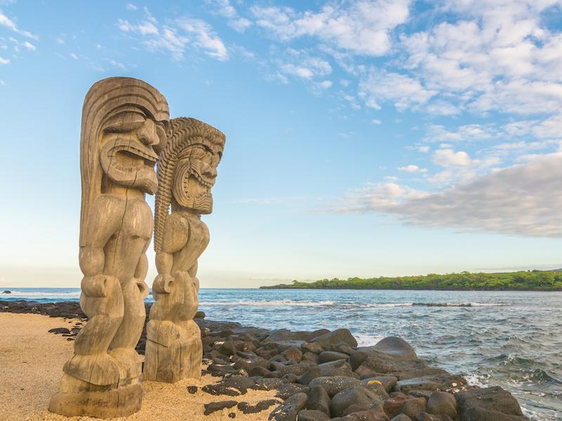 Ki'i in Pu'uhonua O Honaunau National Historical Park, Big Island, Hawaii