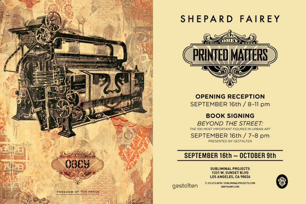 shepard fairey printed matters subliminal projects Shepard Fairey Printed Matters @ Subliminal Projects