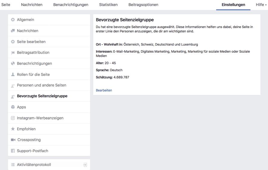 Facebook Bevorzugte Seitenzielgruppe festlegen