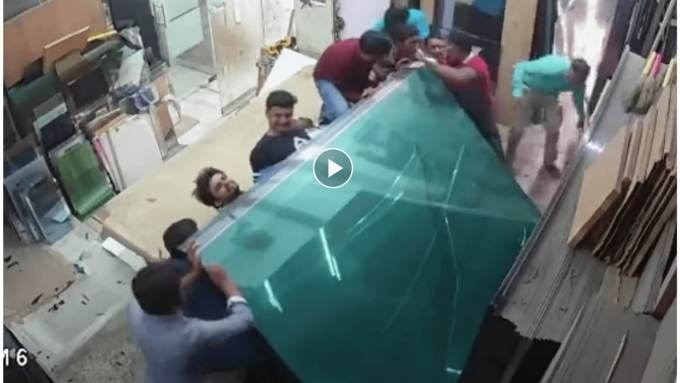 Watch 3 workers get CRUSHED by HEAVY glass…nearly KILLING them!