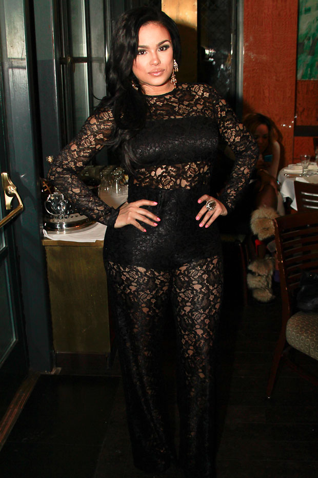 Emily B Wears Lace Jumpsuit For All Black Birthday Affair