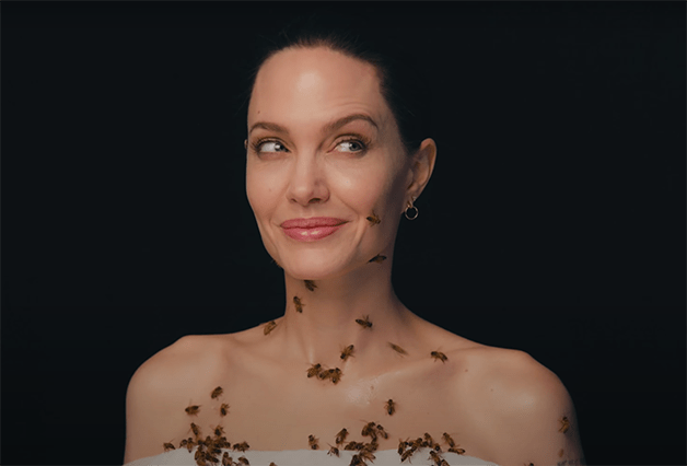 Angelina Jolie in rehearsal with bees
