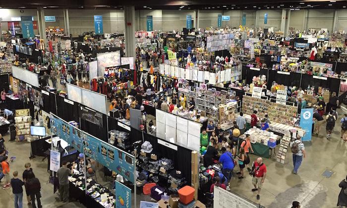 The busy vendor area at MomoCon 2016