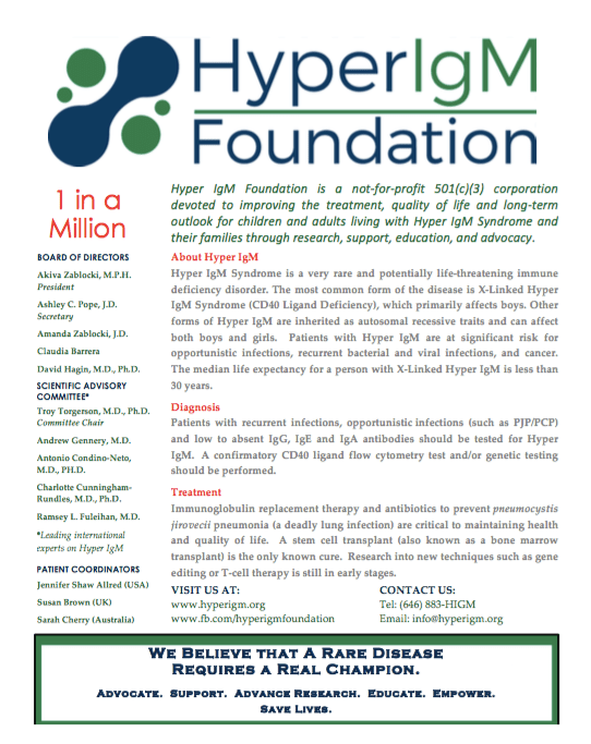 The Hyper IgM Foundation Flyer